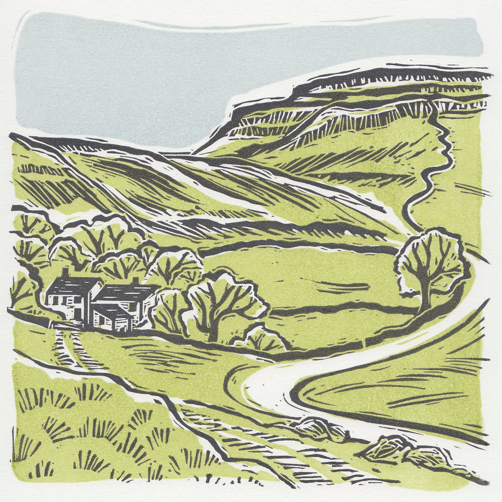 'Ingleborough' Yorkshire Dales. Hand printed linocut print. Lime green.
