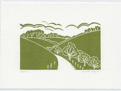 Yorkshire Wolds linocut print mini series - E