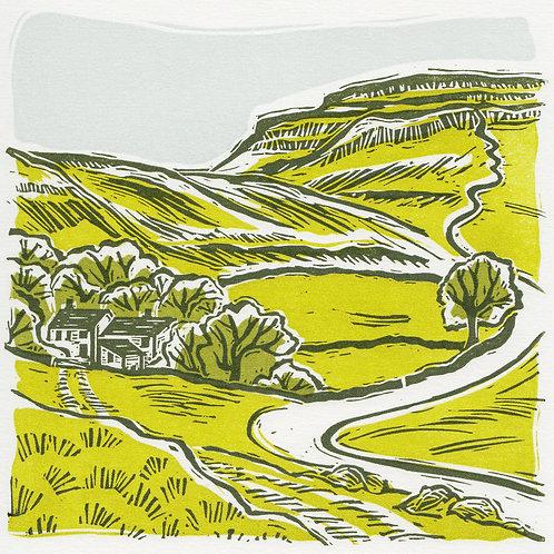 Ingleborough, Yorkshire Dales original linocut print