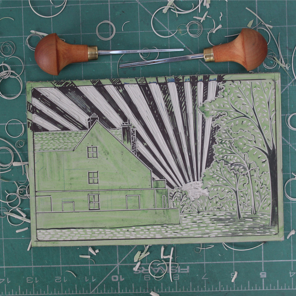 Finished linocut block for the Sutton Hoo Tranmer House linocut illustration