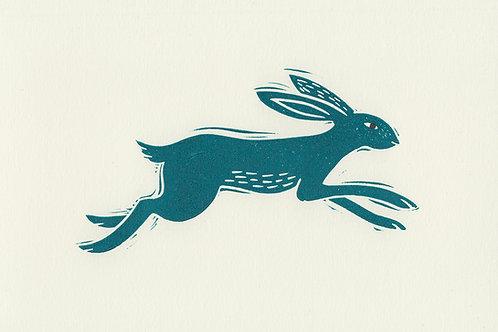 Leaping Hare, original linocut print - Blue