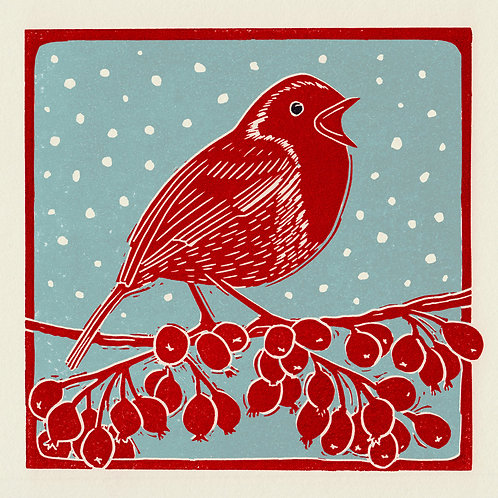 Pack of 4 greetings cards - Winter Robin