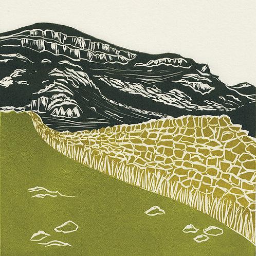 Yorkshire Dales II, original linocut print