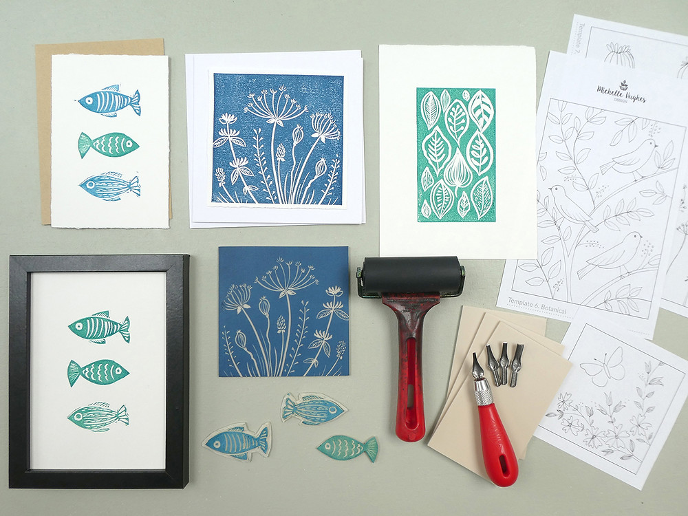 Examples of design templates included in the linocut course