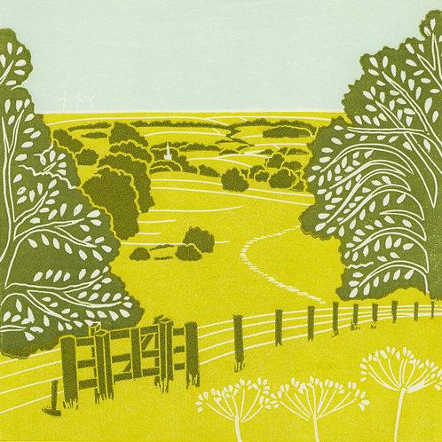 Bishop Wilton, Yorkshire Wolds original linocut print