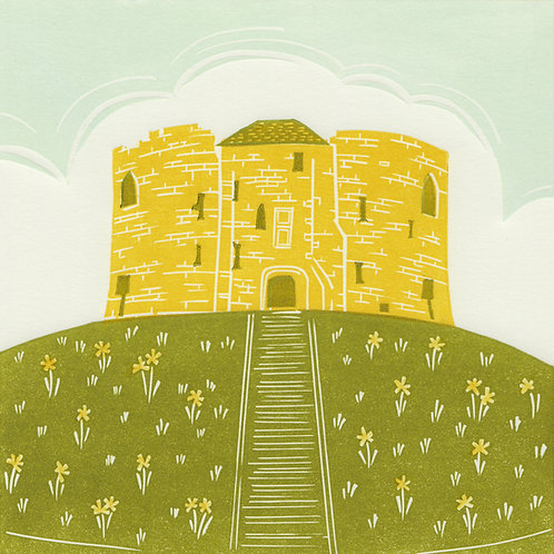 Clifford's Tower, York, original linocut print