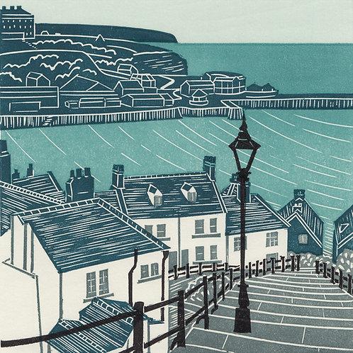 Whitby Steps, Yorkshire Coast, original linocut print