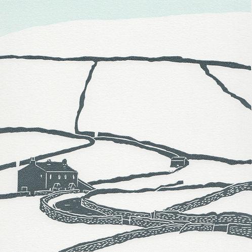 Keld, Yorkshire Dales original linocut print  (winter)