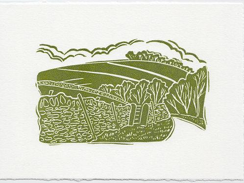 Yorkshire Dales linocut print C