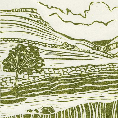 Gordale Scar, Yorkshire Dales, original linocut print