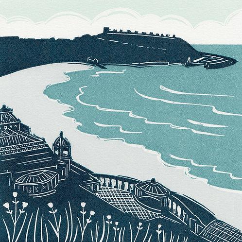 Scarborough, Yorkshire Coast, original linocut print