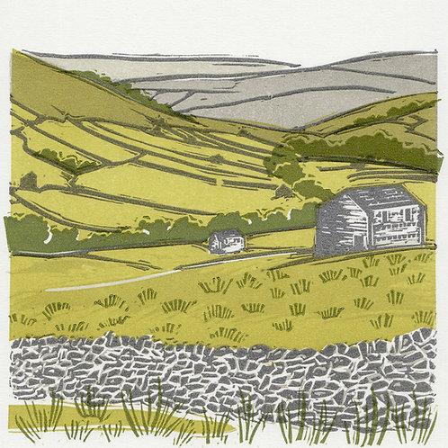 Swaledale II, Yorkshire Dales original linocut print