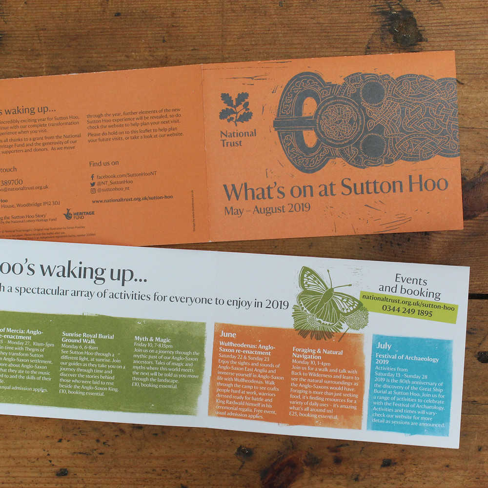'What's on at Sutton Hoo' leaflet showing Anglo-Saxon gold belt buckle and copper butterfly linocut illustration