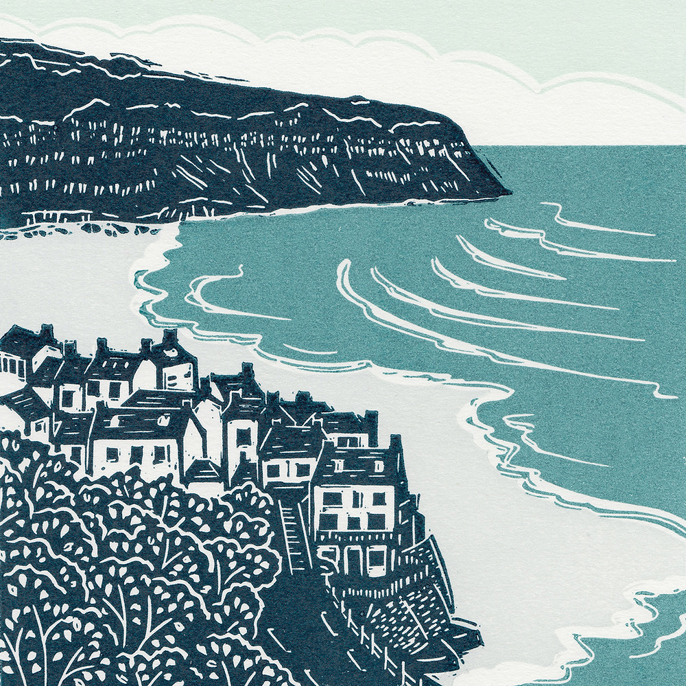 'Robin Hood's Bay III', Yorkshire Coast, linocut print