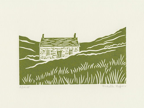 Cottage, original linocut print - Green