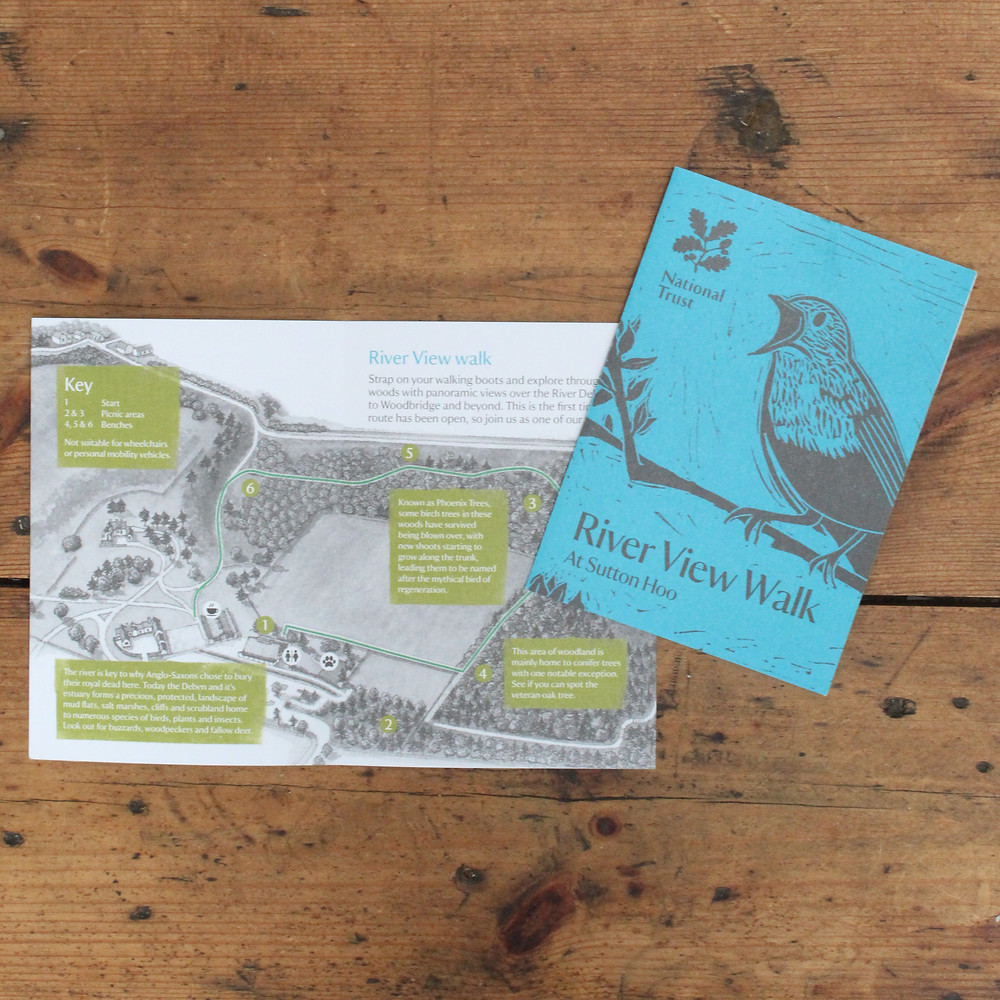 'River View Walk' leaflet showing nightingale bird linocut illustration for National Trust's place, Sutton Hoo