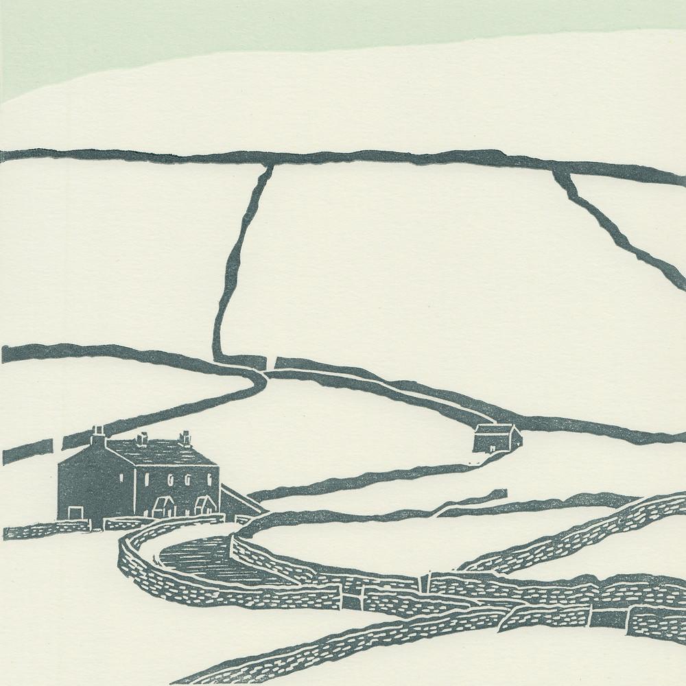 Keld linocut print, Yorkshire Dales