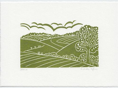 Yorkshire Wolds linocut print mini series - B