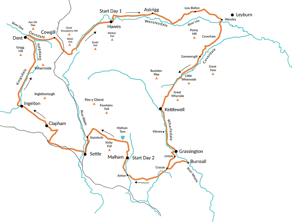 Yorkshire Dales Cycleway map