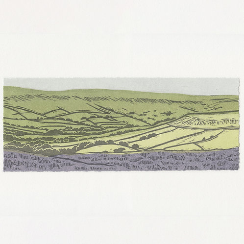 Blakey Ridge towards Farndale, North York Moors, original linocut print