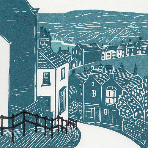 Robin Hood's Bay II, Yorkshire Coast, original linocut print
