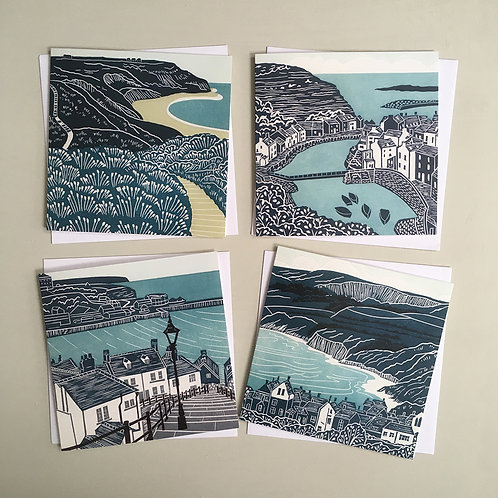 Pack of 4 greetings cards - Yorkshire Coast 1