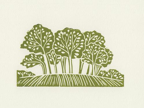 Trees, original linocut print - Green