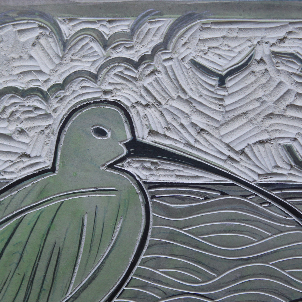 Finished linocut block for the Sutton Hoo curlew and Anglo-Saxon boat linocut illustration