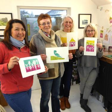 3 February 2019 - 'Jigsaw' linocut printing