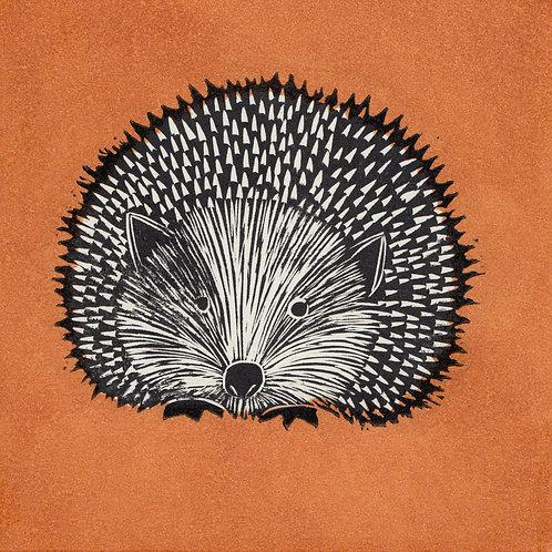 Hedgehog, orange, original linocut print