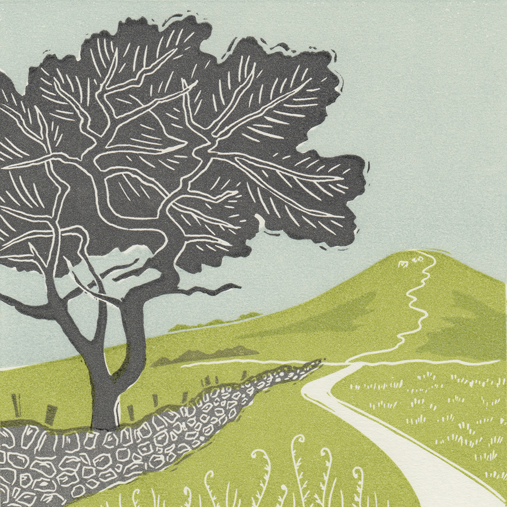 Towards Roseberry, linocut print