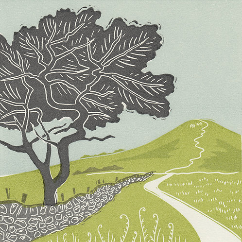 Towards Roseberry, North York Moors, original linocut print