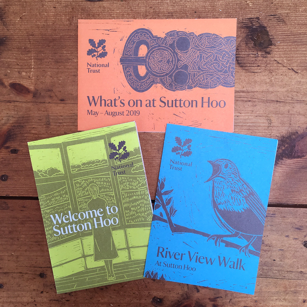'What's on at Sutton Hoo' , Welcome to Sutton Hoo' and River View Walk' leaflets  for National Trust's place, Sutton Hoo