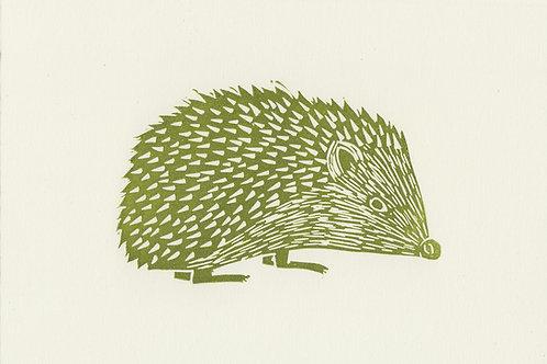 Hedgehog, original linocut print - Green