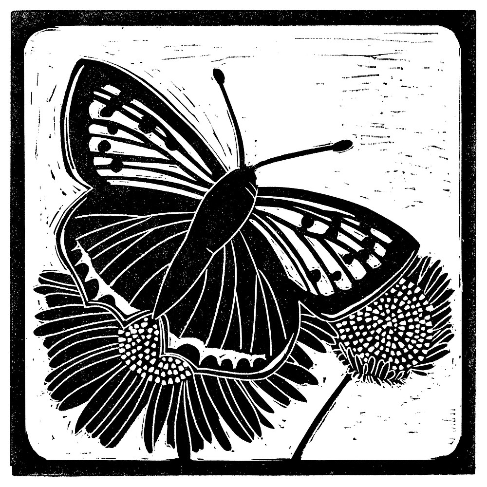 Printed linocut illustration for the Sutton Hoo copper butterfly
