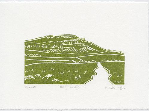 Ingleborough, Yorkshire three peaks linocut print