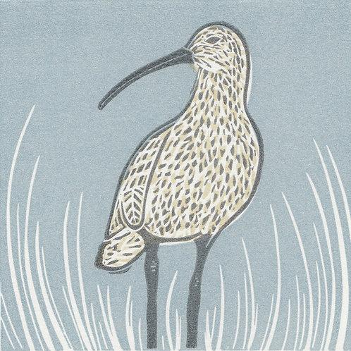 Curlew original linocut print