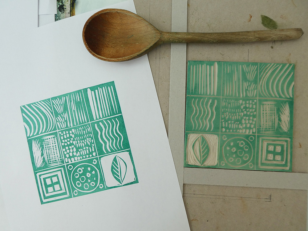 Making a sampler - Learning how create mark making with linocut tools