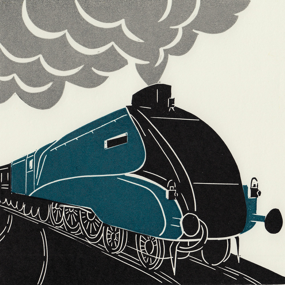 Mallard steam train linocut