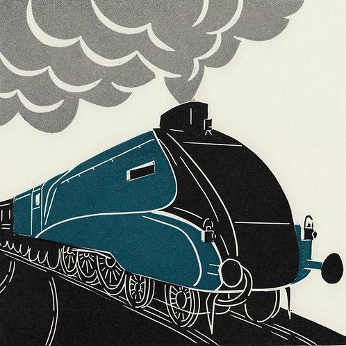 Mallard steam train, original linocut print