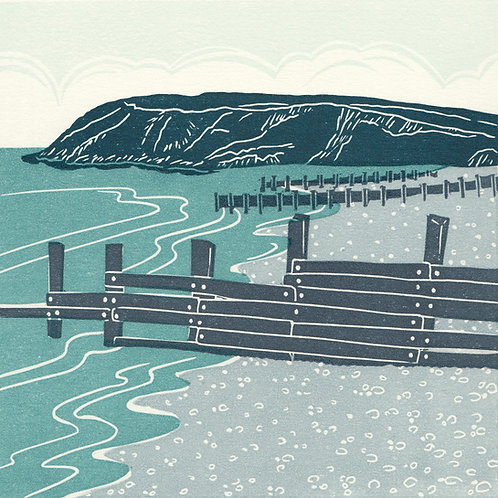 St Bees, Cumbria, original linocut print