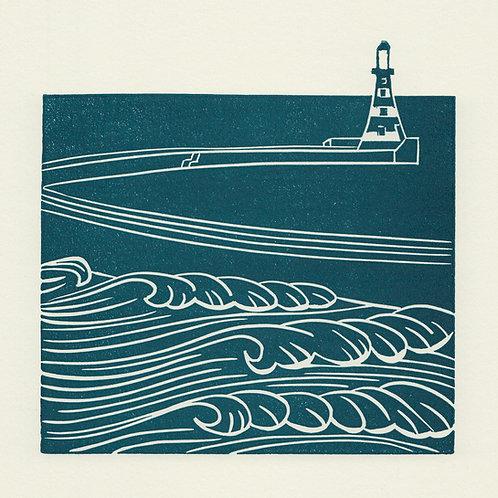 Roker Pier, Sunderland, original linocut print