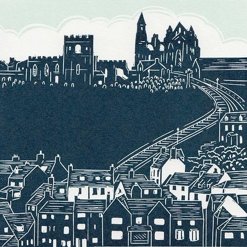 Whitby Abbey, Yorkshire Coast, original linocut print