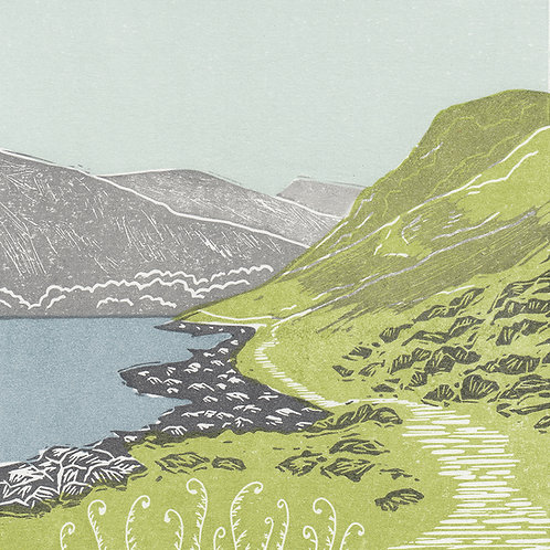 Ennerdale Water, Lake District, original linocut print