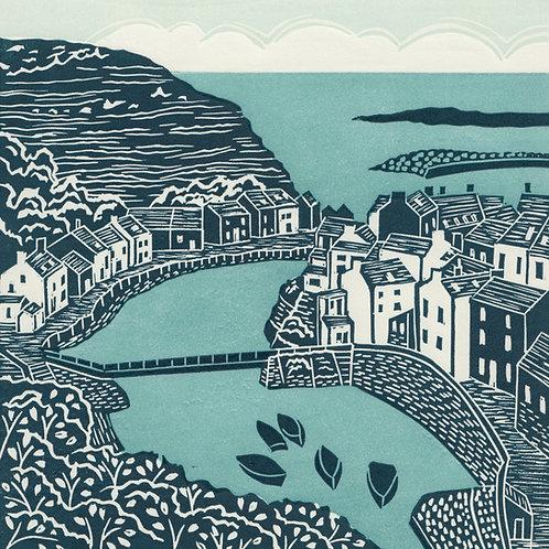 Staithes, Yorkshire Coast, original linocut print