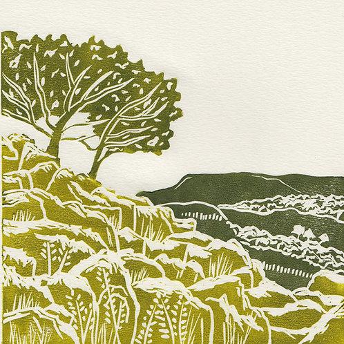 Yorkshire Dales I, original linocut print