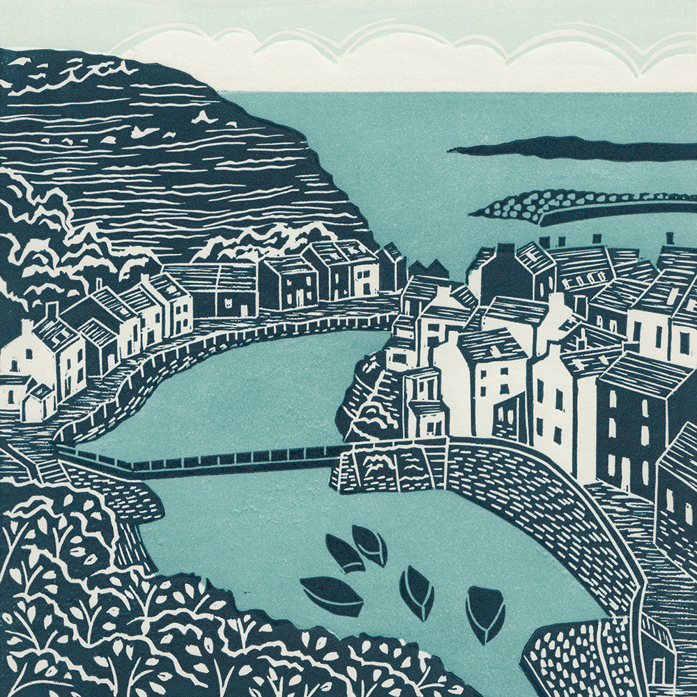 Staithes linocut print