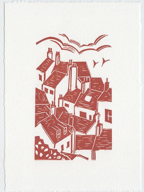 Yorkshire Coast linocut print, rooftops  - terracotta