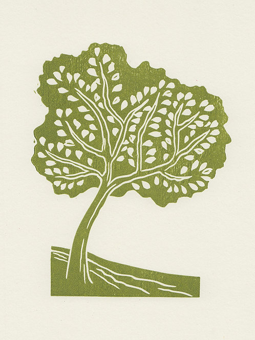 Tree, original linocut print - Green