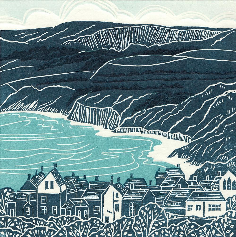 Robin Hood's Bay, Yorkshire Coast, hand printed linocut